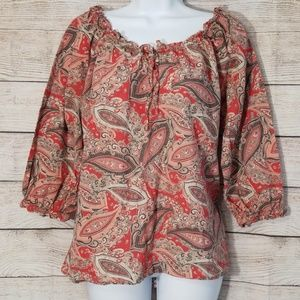 💗2/$16.89 Izod Peasant Blouse Red Paisley Size L